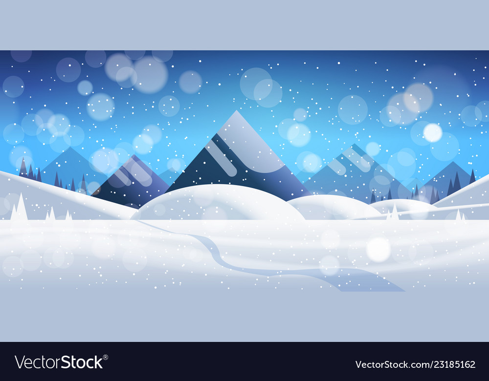 Winter mountain forest landscape background pine
