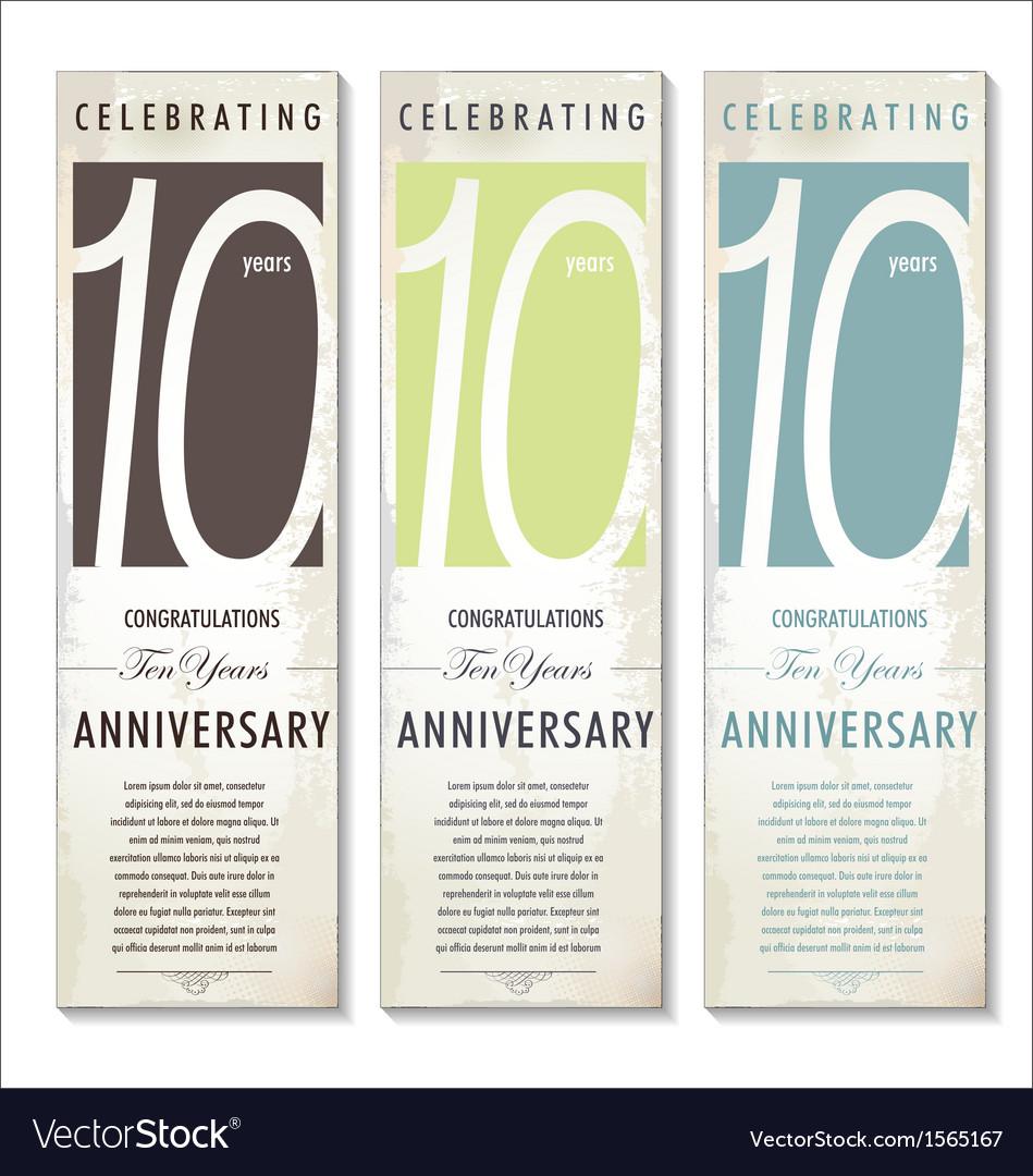 10 years Anniversary retro banner set
