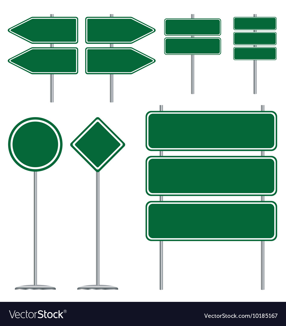 Blank green and white road sign design on white vector image