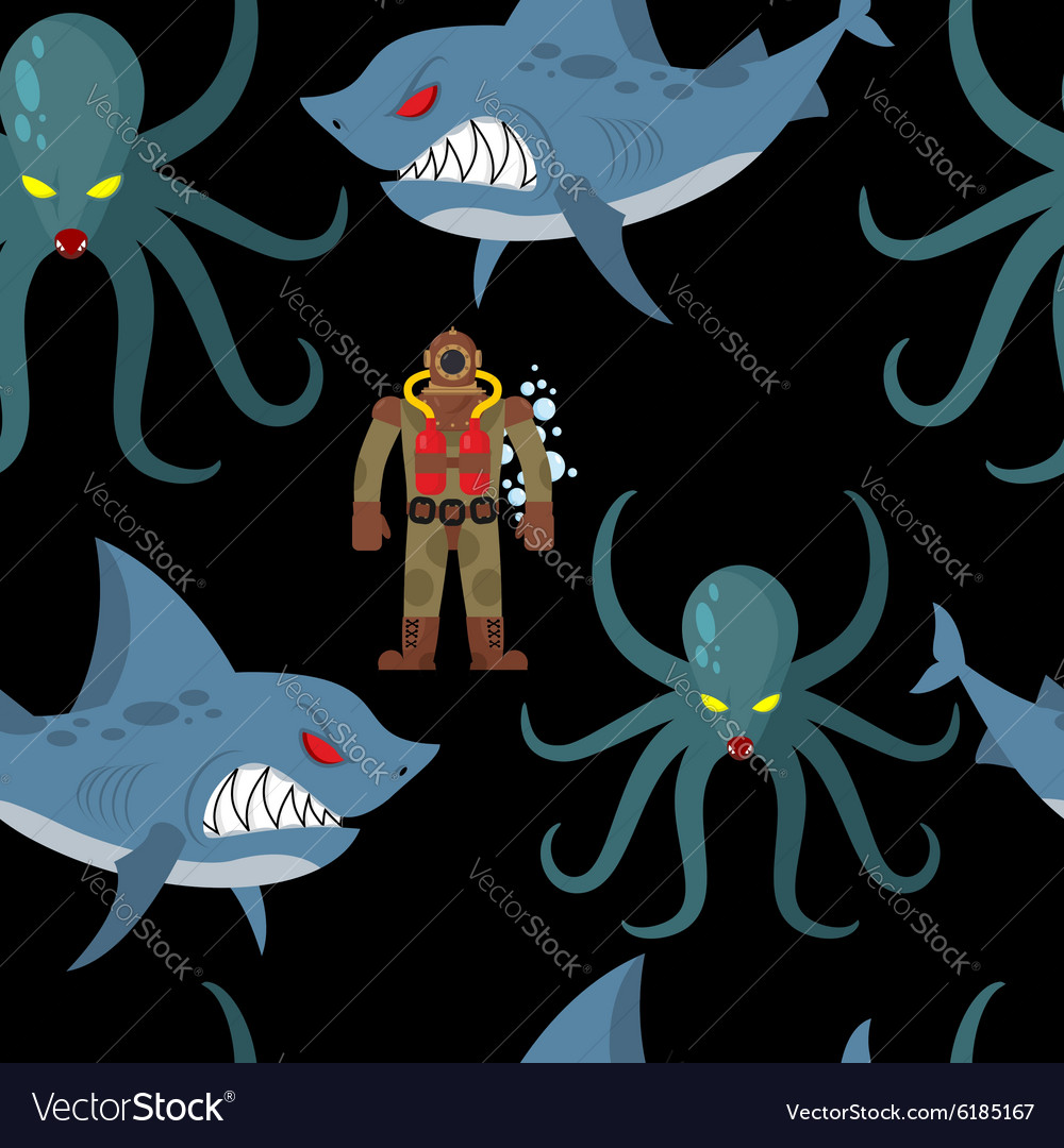Diver in old diving suit and sea monsters seamless