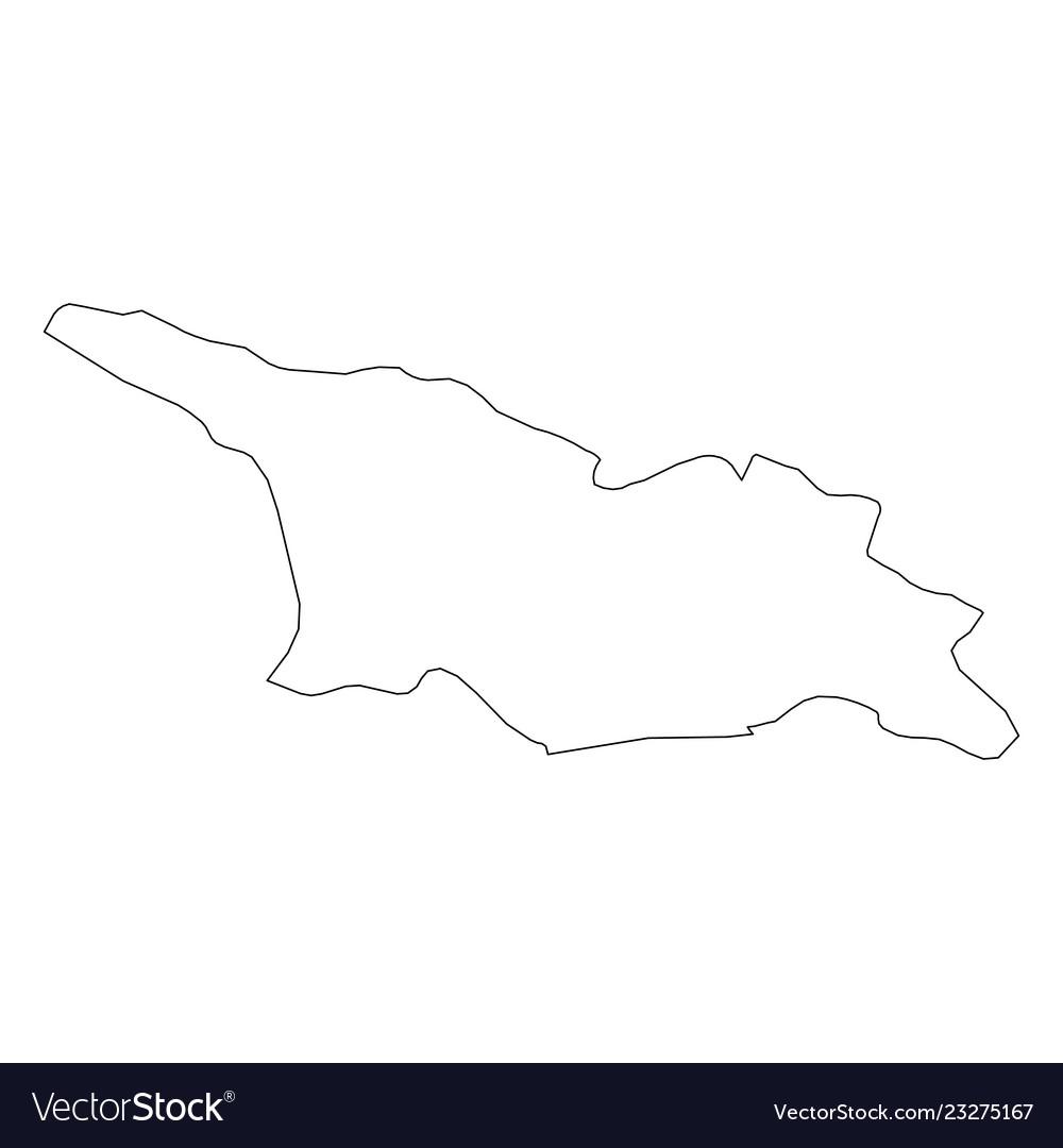 Map Of Kakheti Georgia.Georgia Solid Black Outline Border Map Of Vector Image