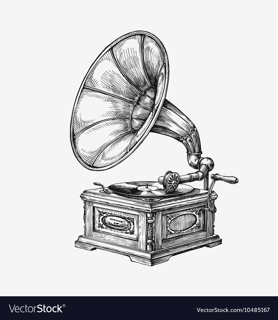 Hand drawn vintage gramophone sketch music vector image