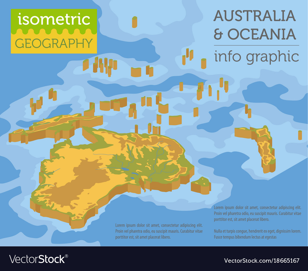 Isometric 3d australia and oceania physical map Vector Image
