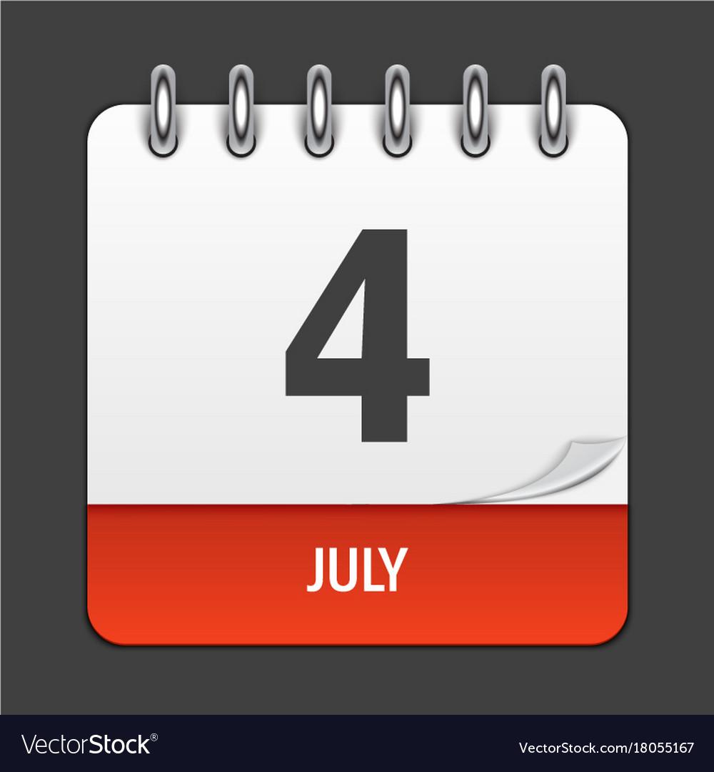 July 4 calendar daily icon vector image