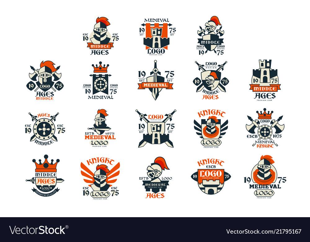 Medieval logo design set middle ages vintage