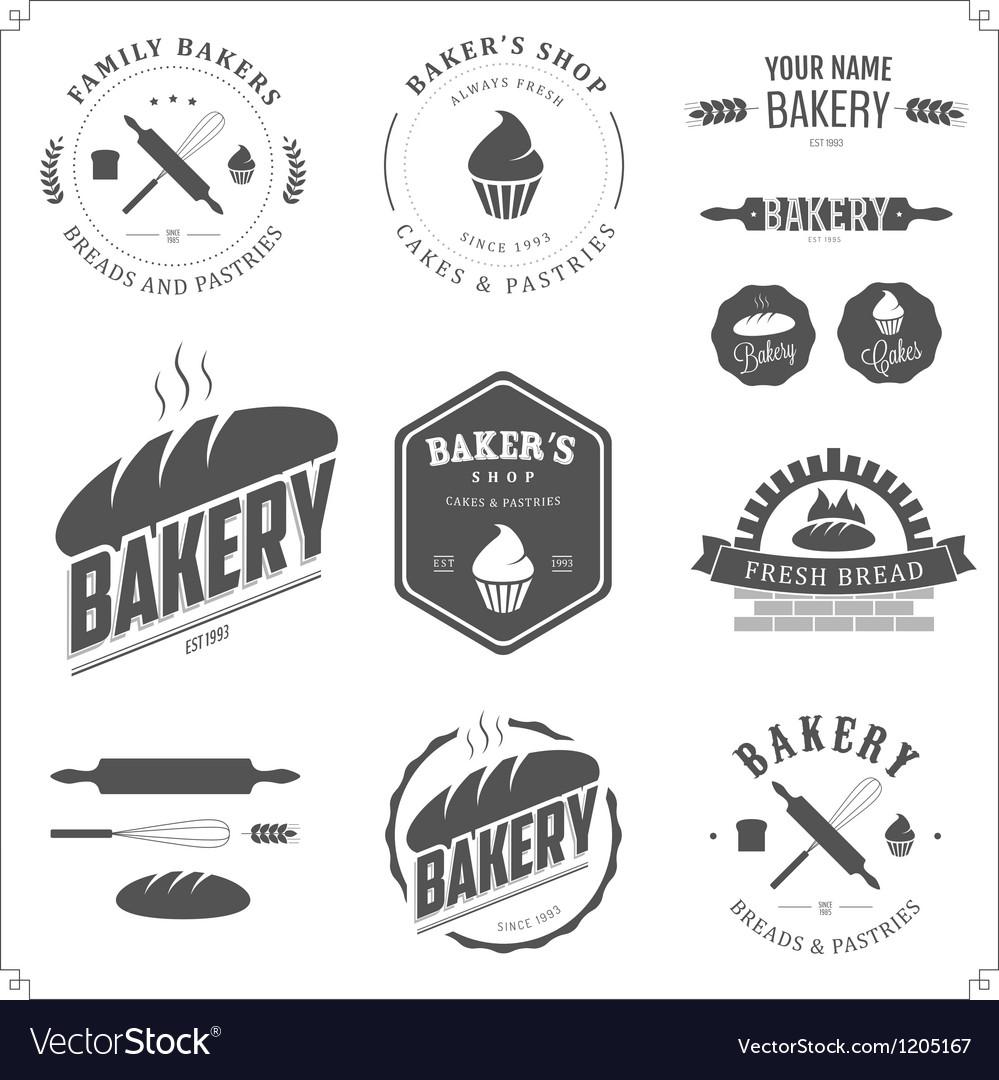 Set of vintage bakery labels and design elements