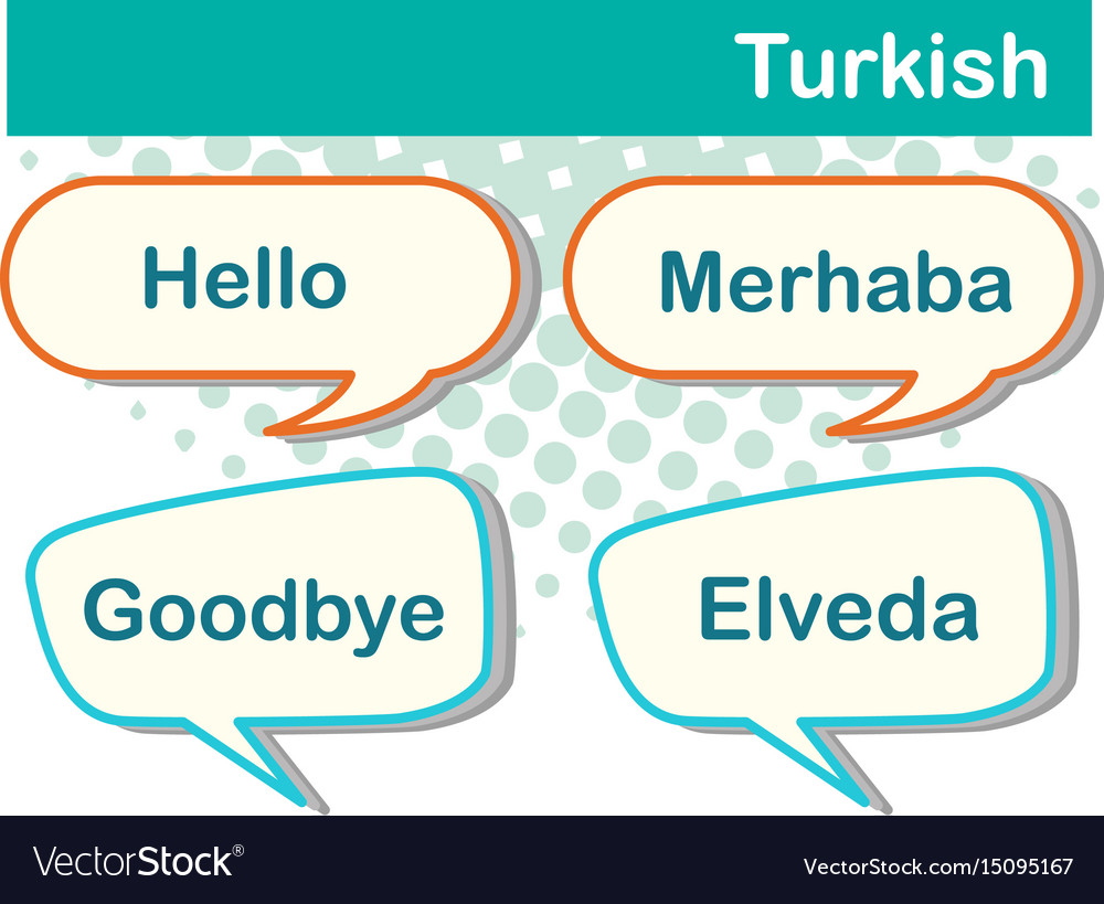 Speech bubbles with turkish words vector image