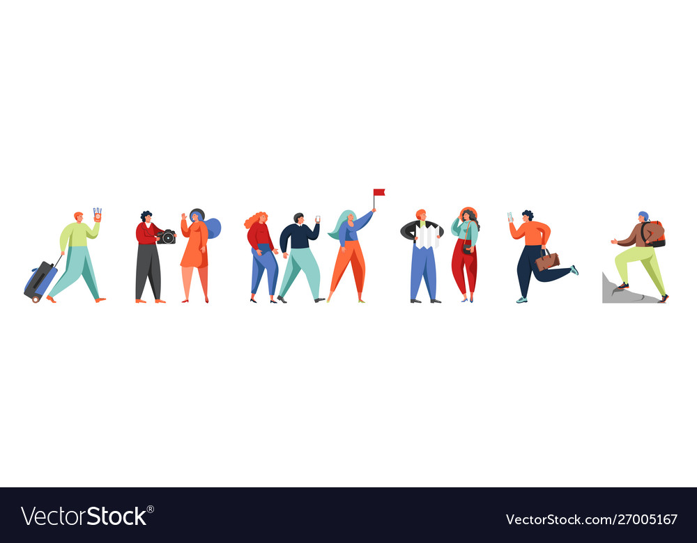 Tourist travel characters flat isolated