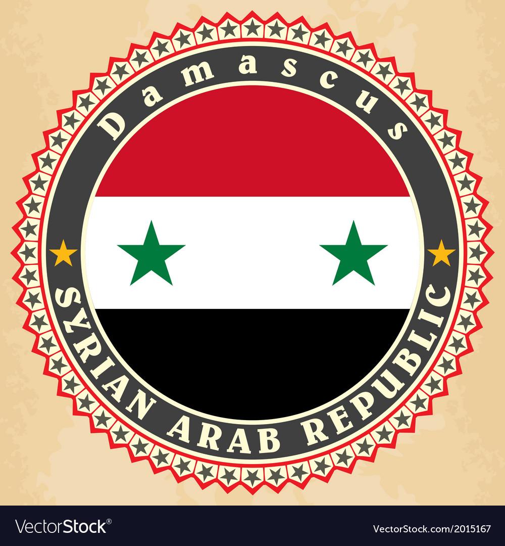 Vintage label cards of Syria flag vector image