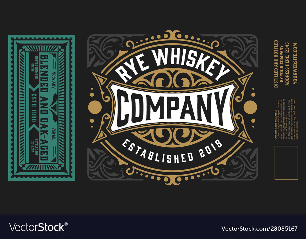 Vintage labels for whiskey or other products