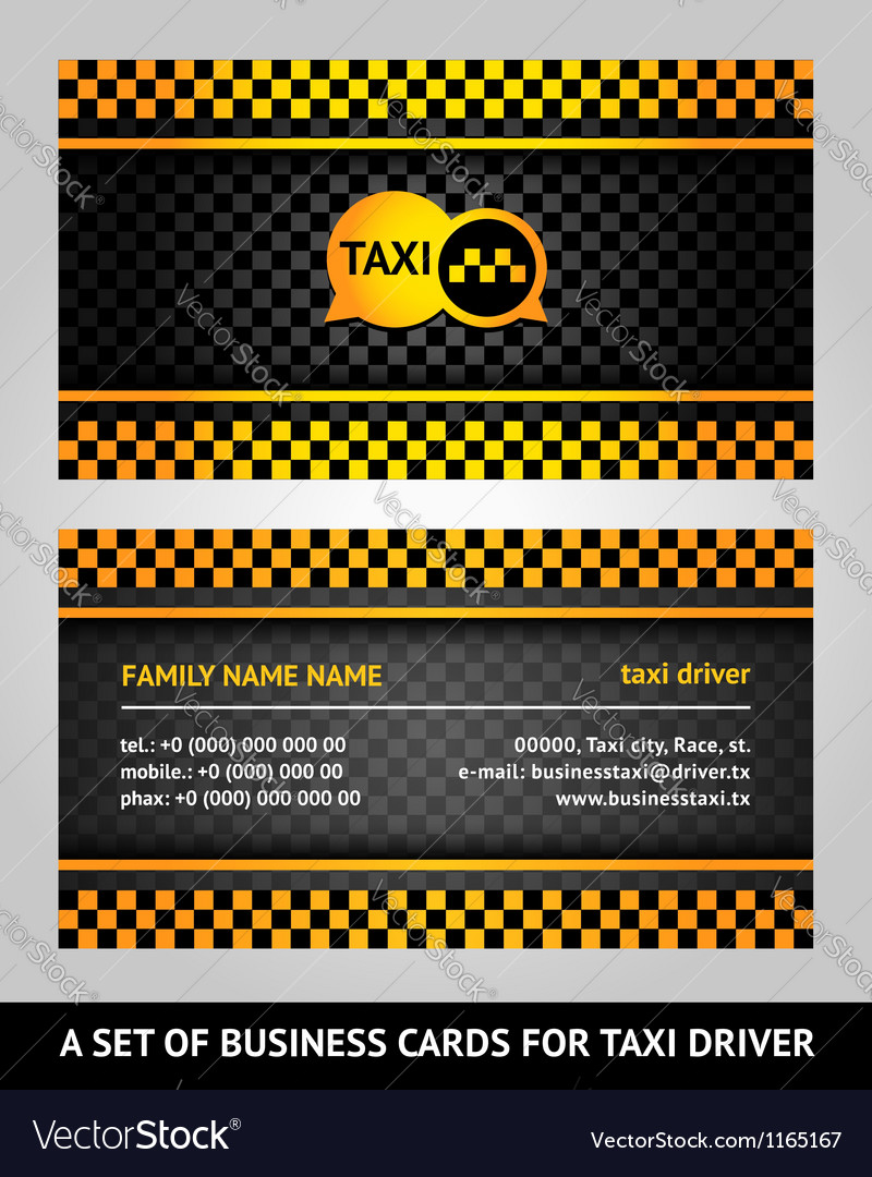 visiting cards taxi vector image - Taxi Business Cards