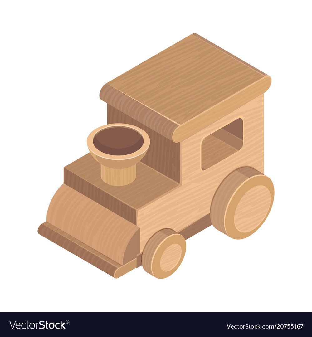Wooden train toy on the white background