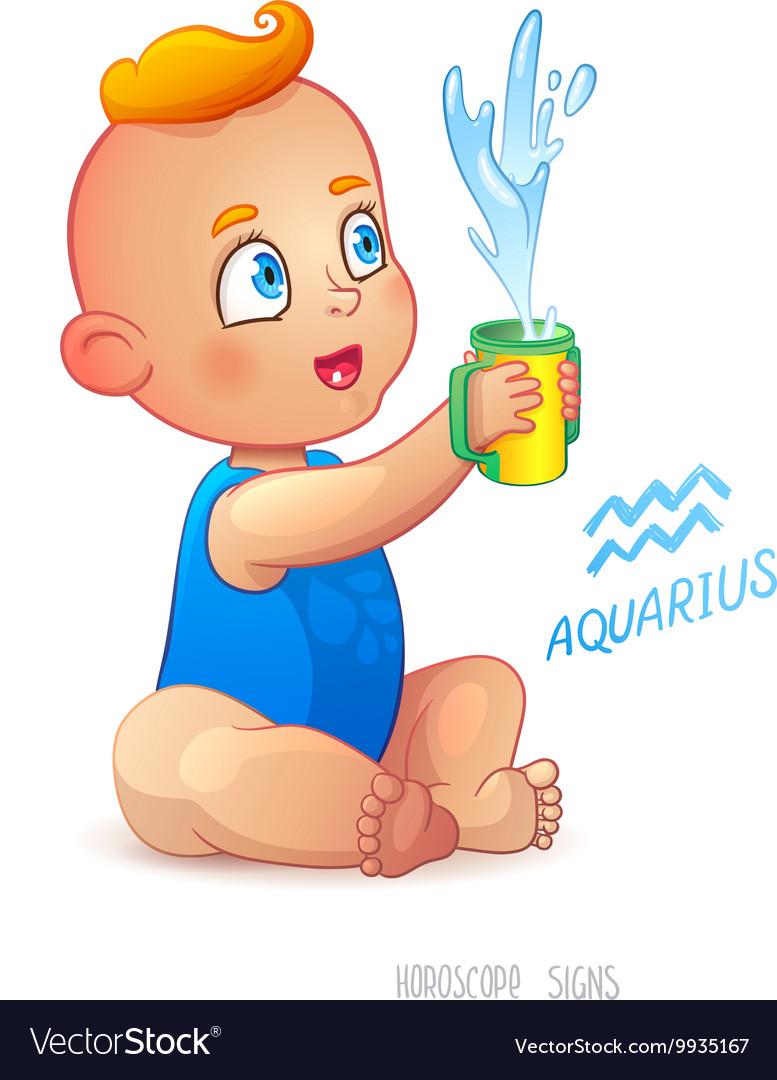 467089d34 Zodiac sign Aquarius Happy babyboy enjoys Vector Image