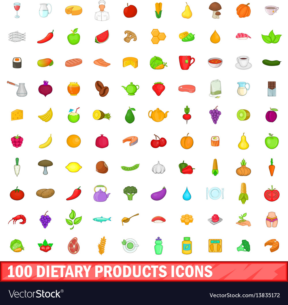 100 dietary products icons set cartoon style