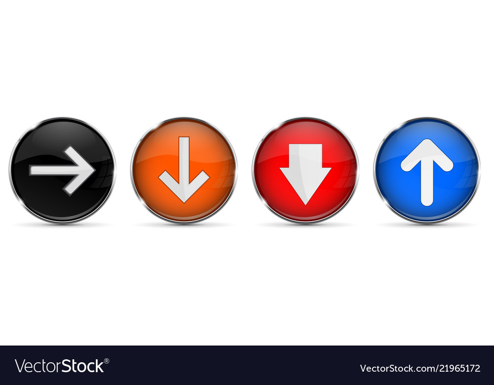 Colored 3d buttons with arrows round glass shiny