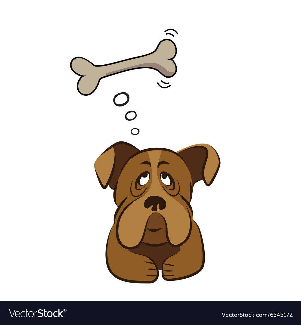Cute dog thinking about bone