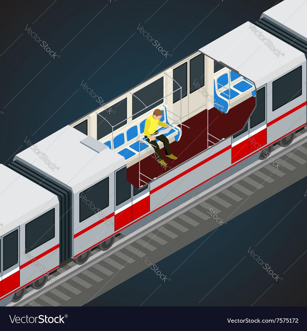 Interior view of a subway car Train Subway