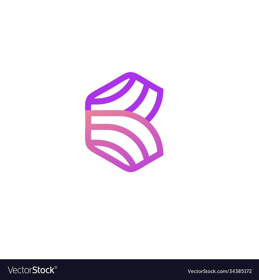 Line b letter logo template design v