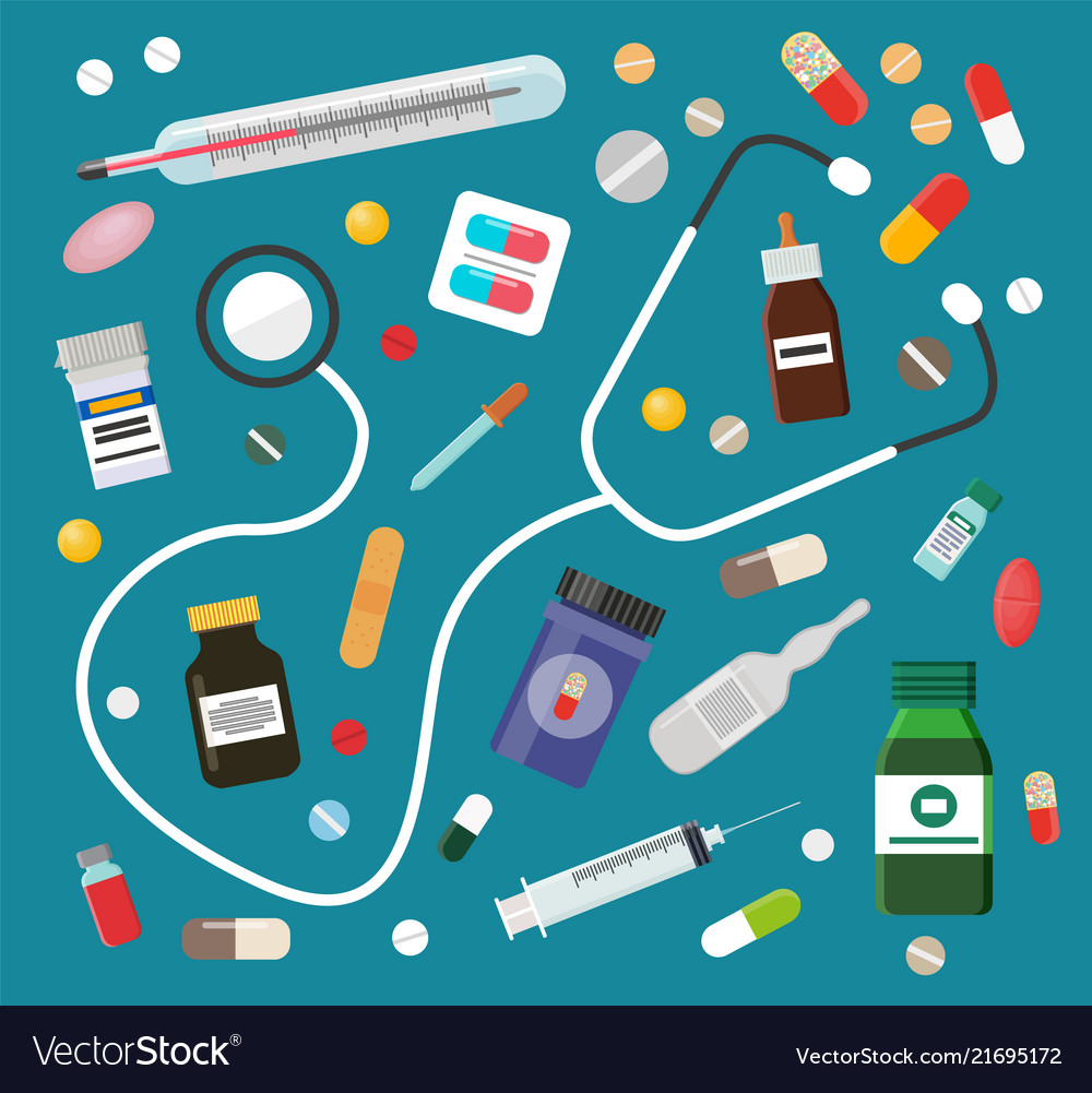 Medicines in pills or syrups and stethoscope set