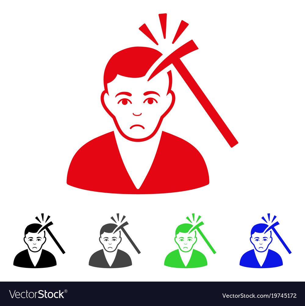 Sad murder with hammer icon vector image