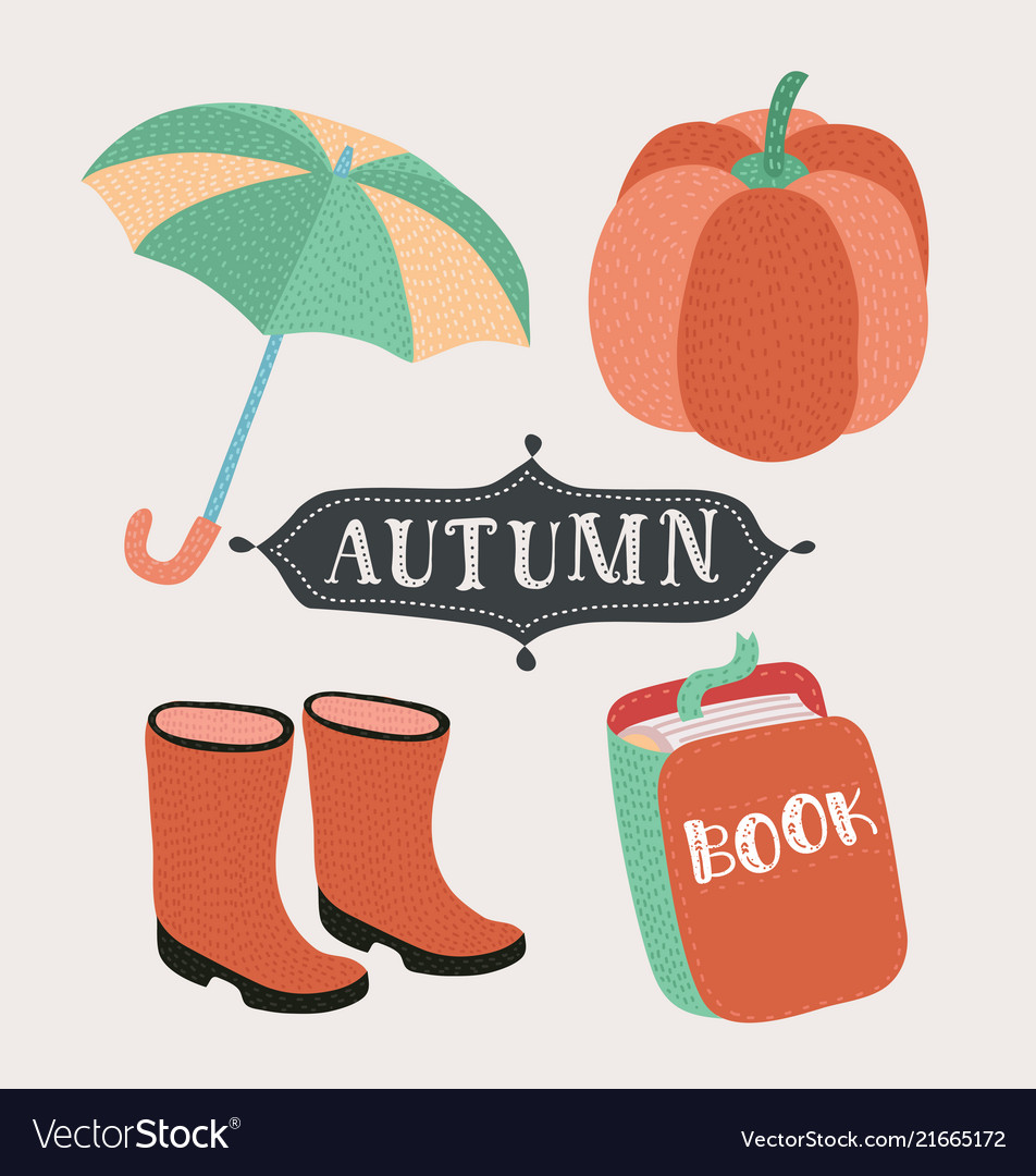 Set of cartoon autumn elements