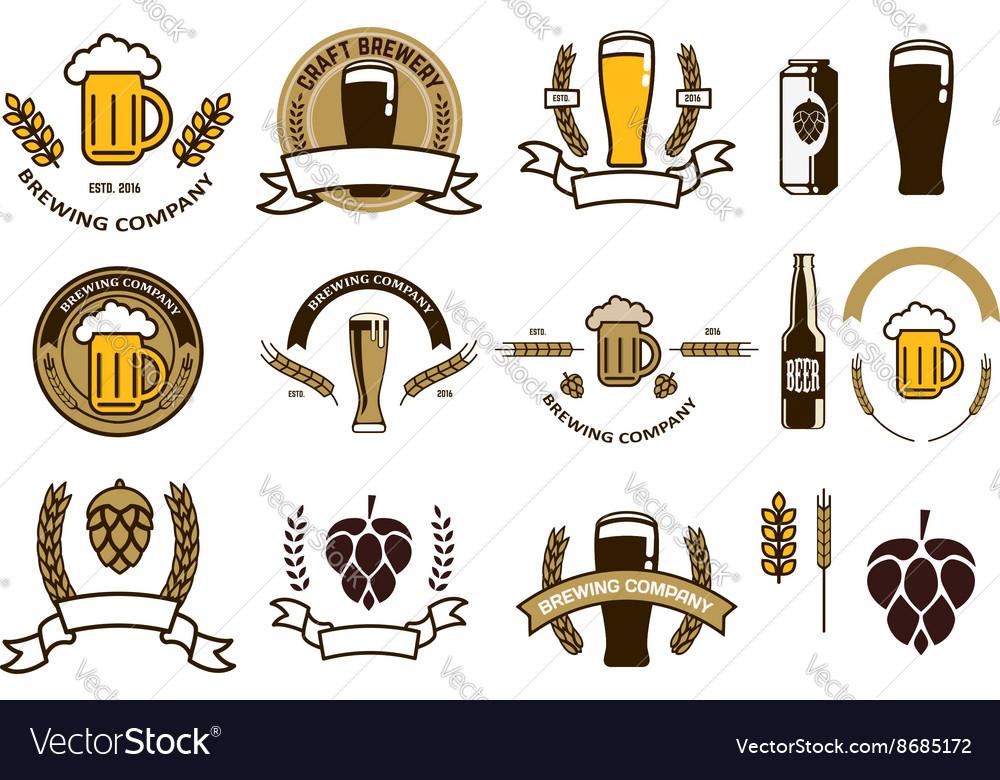 Set of craft beer emblems and logo templates