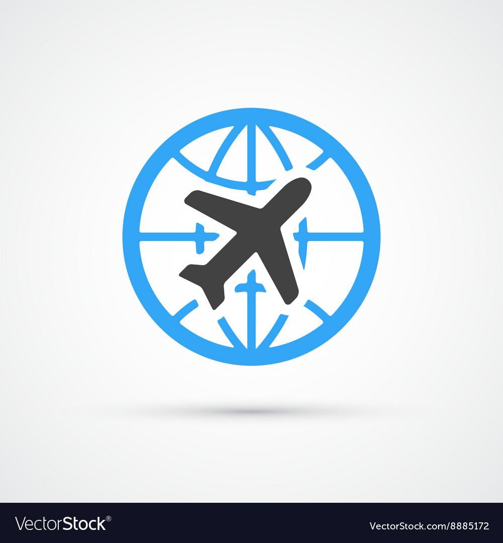 Trendy airplane travel flight icon