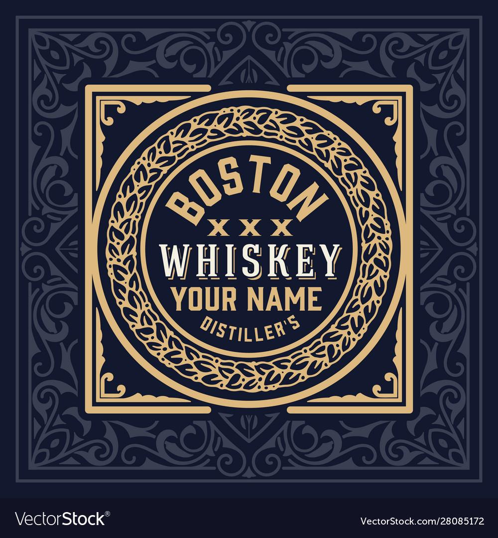 Whiskey label vintage design retro