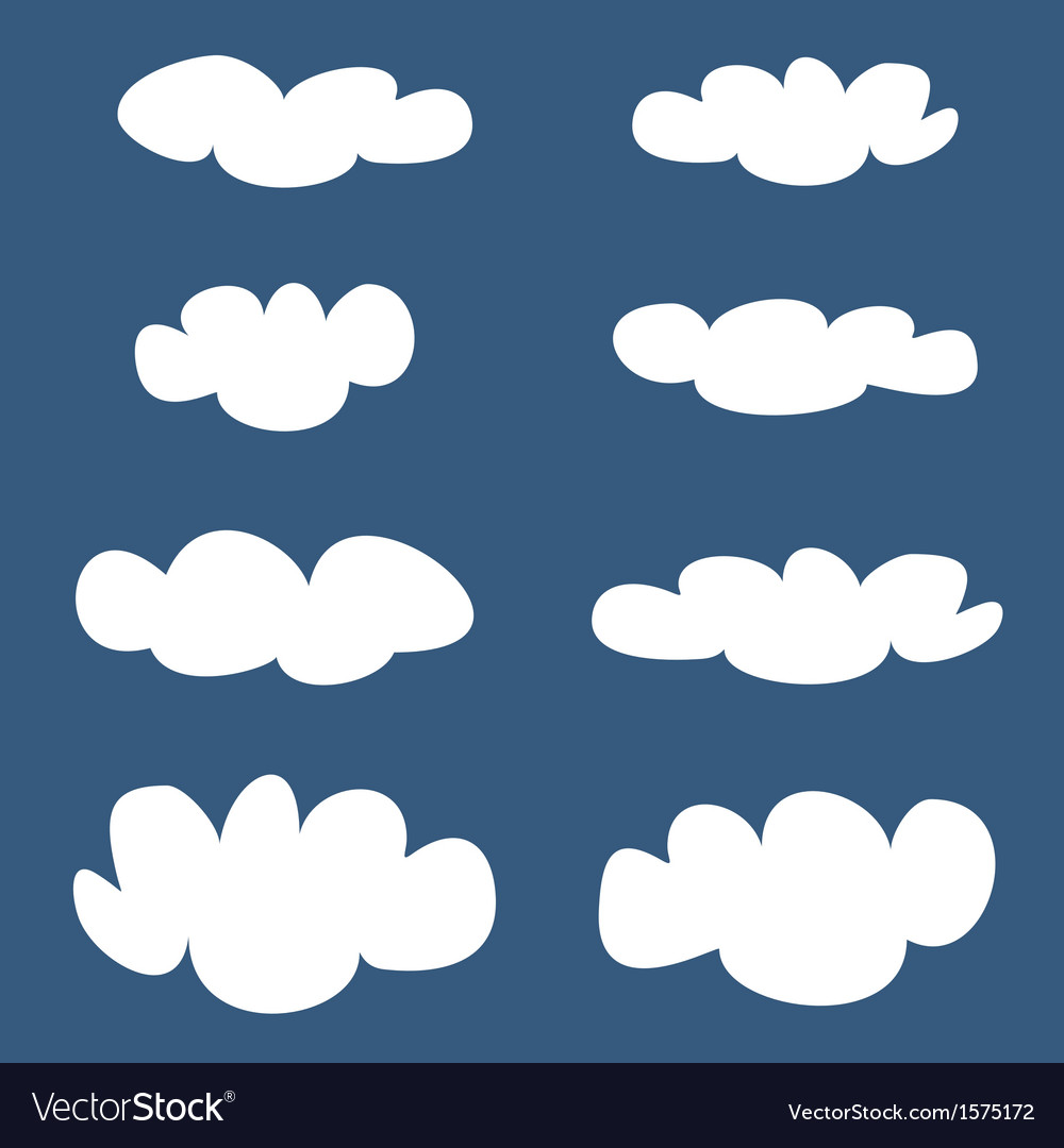 White clouds on dark blue sky background set
