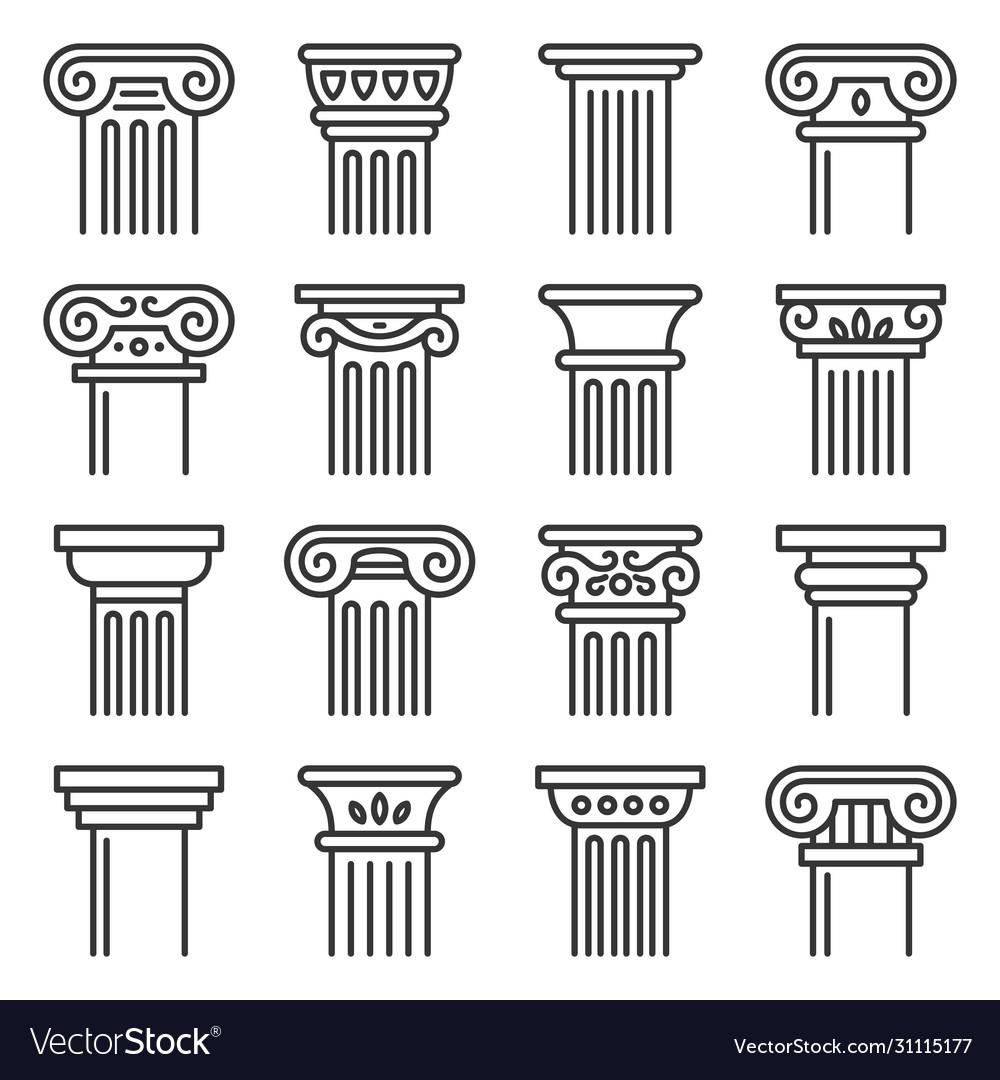 Ancient columns icon set line style