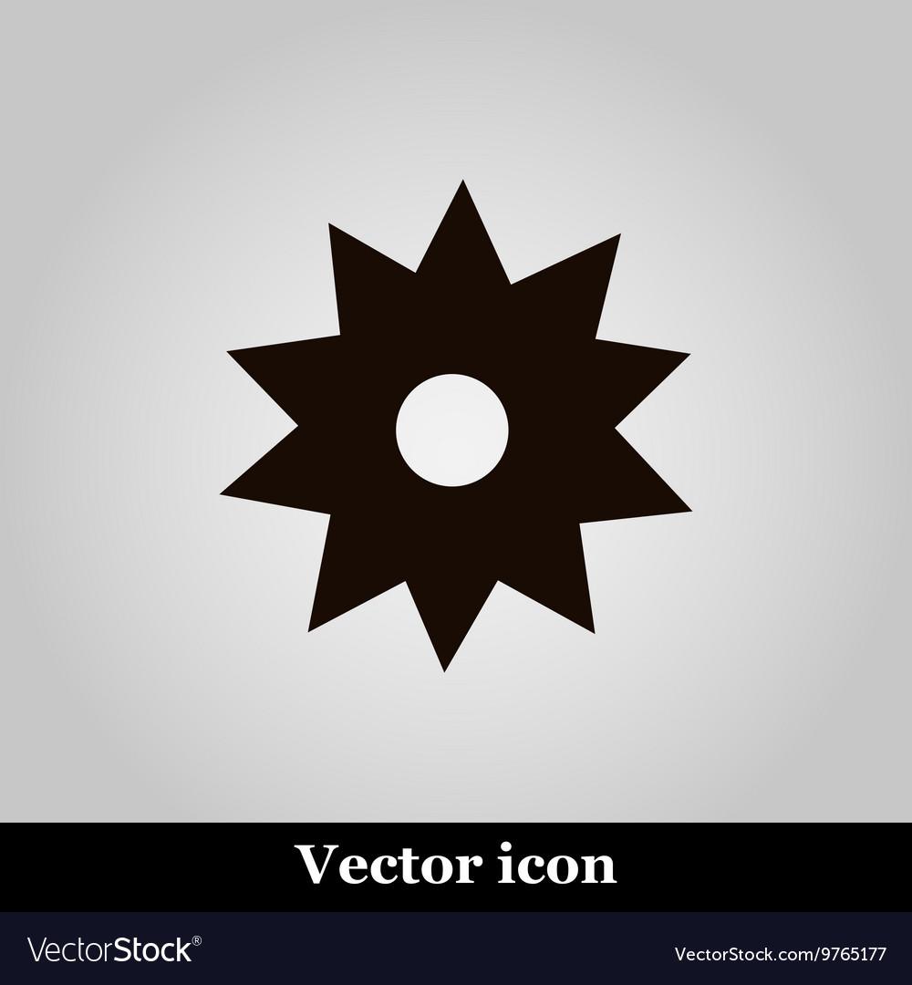Black flower icon on grey background illus