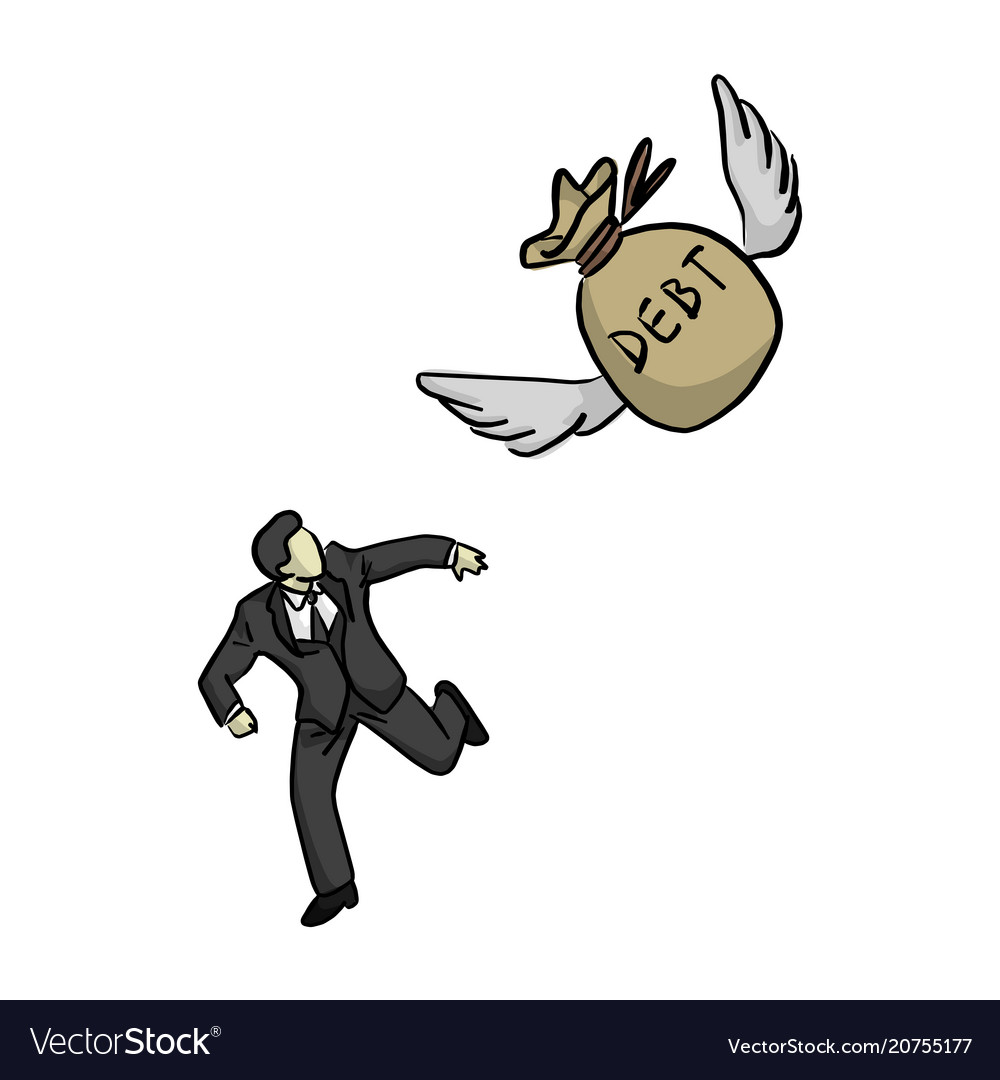 Businessman running away from flying bag of debt