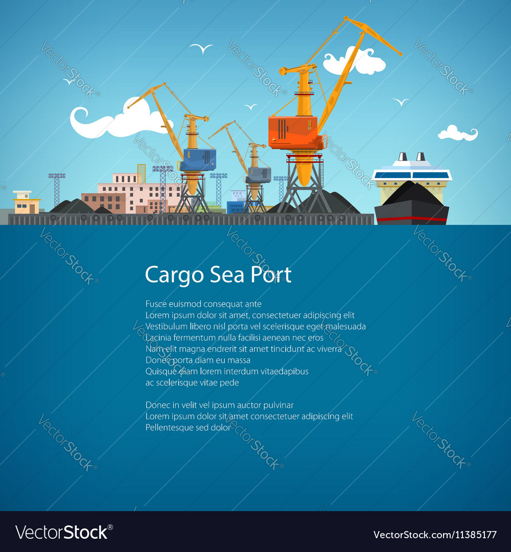 Cargo Sea Port and Text vector image