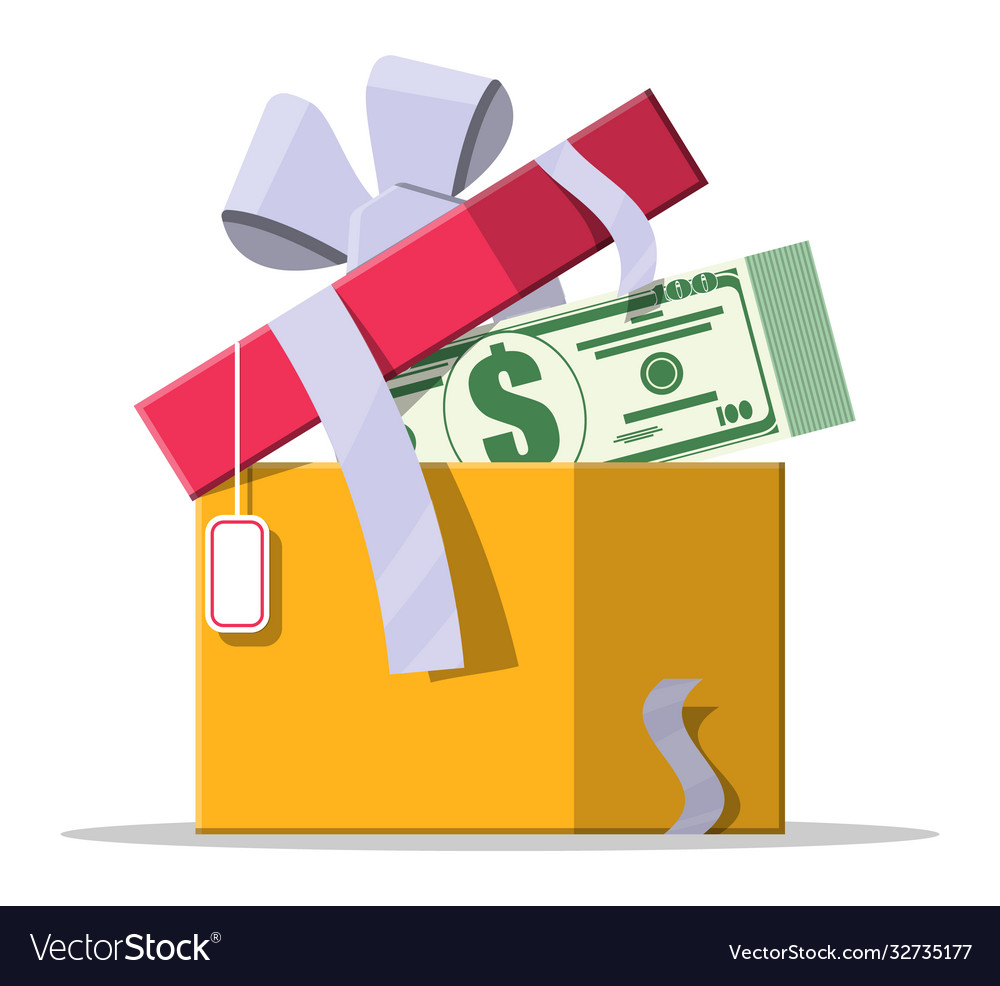 Dollar money coins coming out gift box