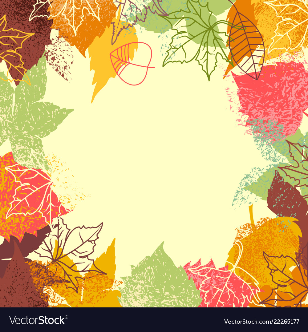 Fall leaves background frame for text