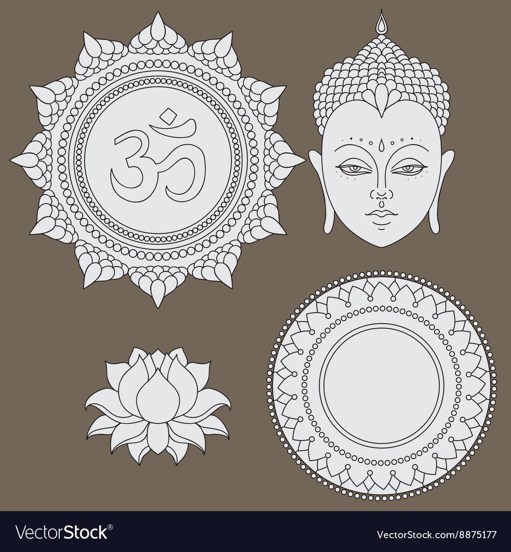 Head of buddha om sign hand drawn lotus flower vector image mightylinksfo