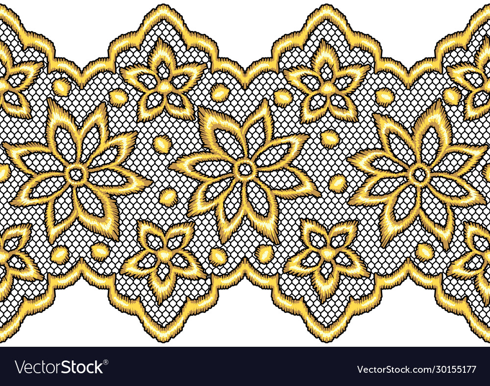 Lace seamless pattern with gold flowers