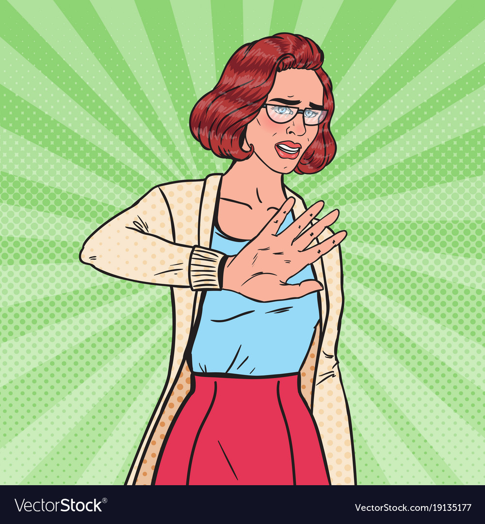 Pop art disgusted woman making stop hand sign