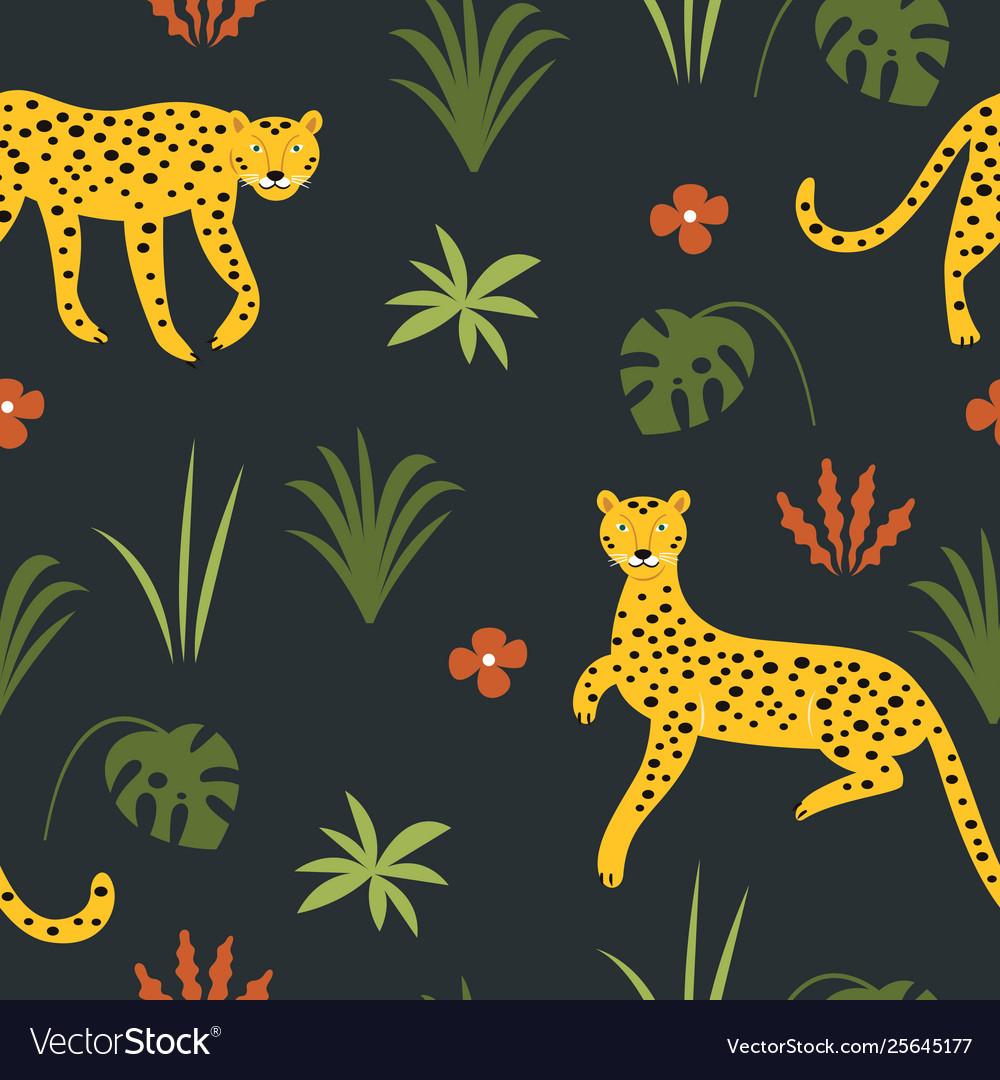 Seamless pattern wit leopards