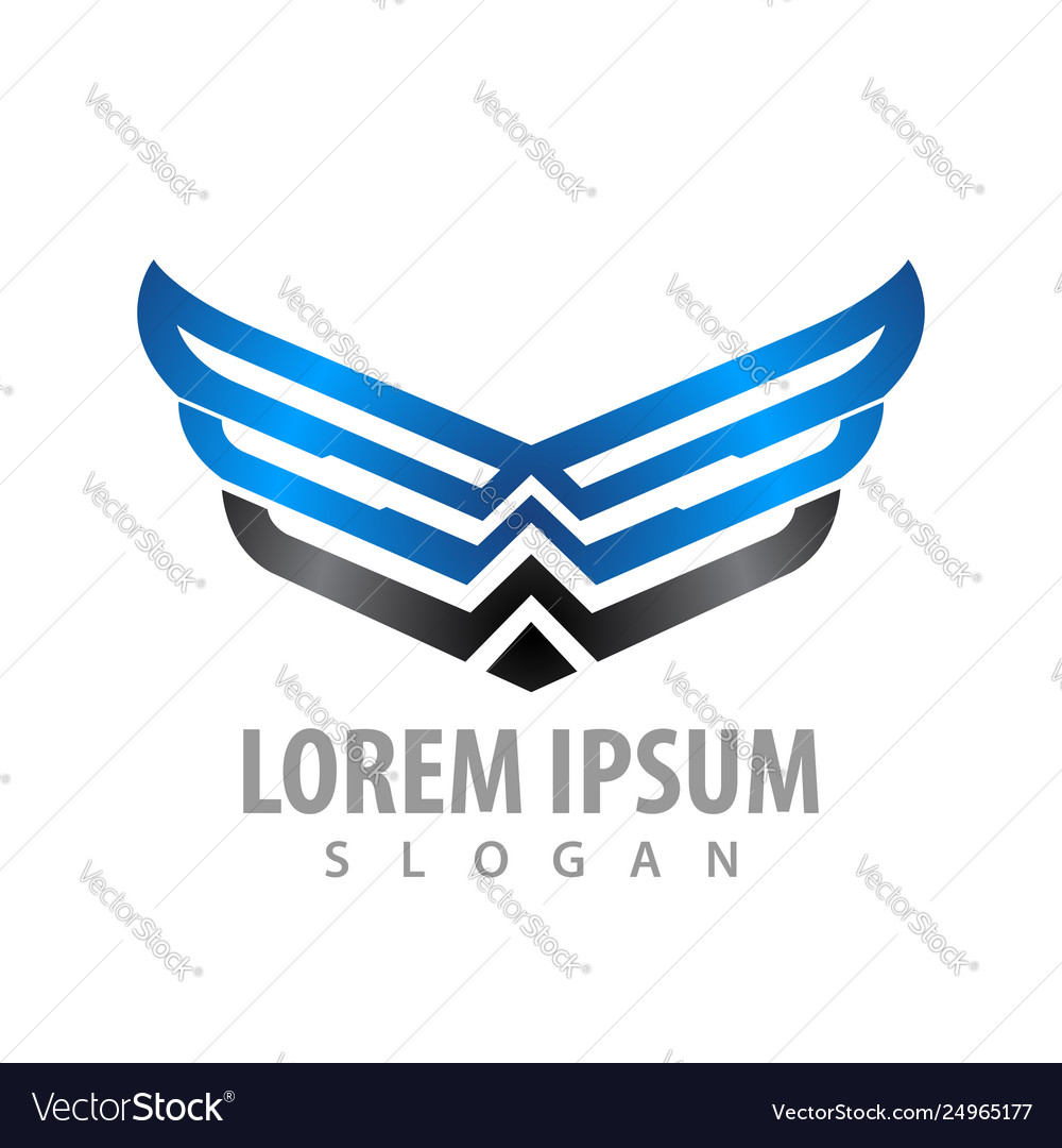 Shiny wing line concept design symbol graphic