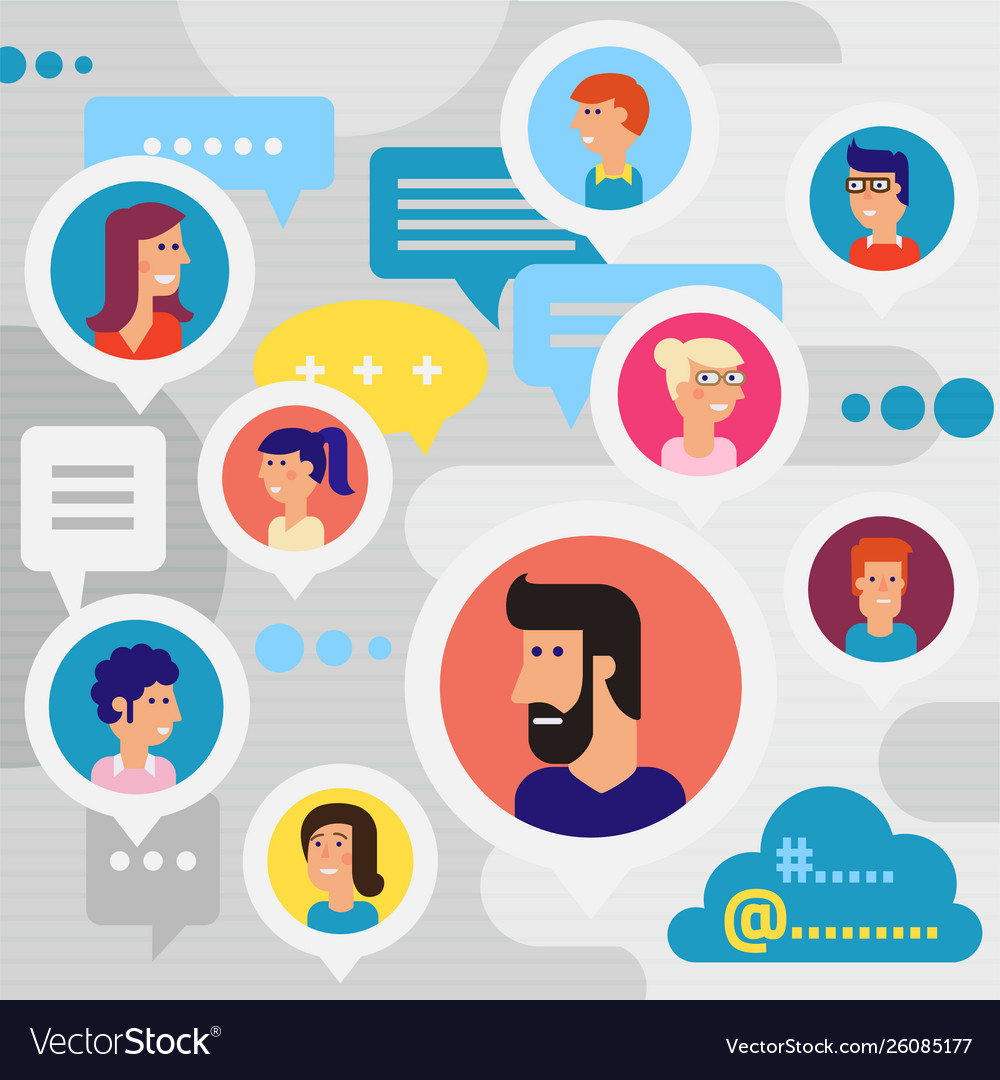 Social networks users global chatting concept