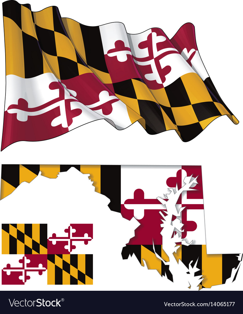 state of maryland map waving flat flag vector image rh vectorstock com waving maryland flag vector Maryland Flag Black and White