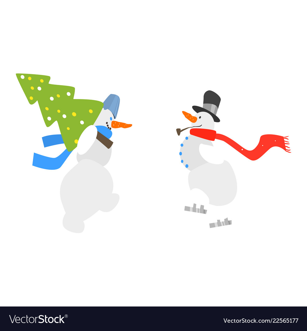 Two funny snowmen with a christmas tree winter