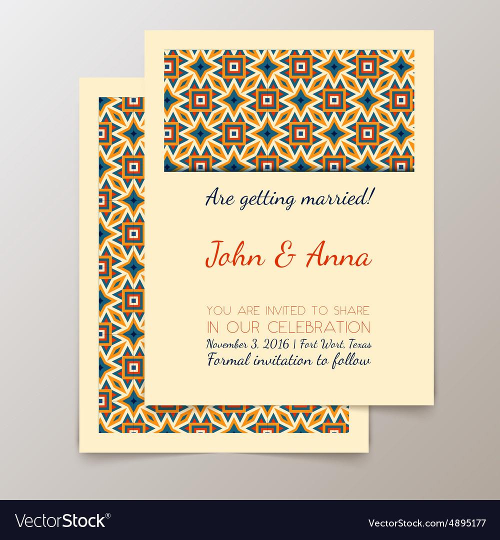 Wedding Invitation Card With Geometric Vintage