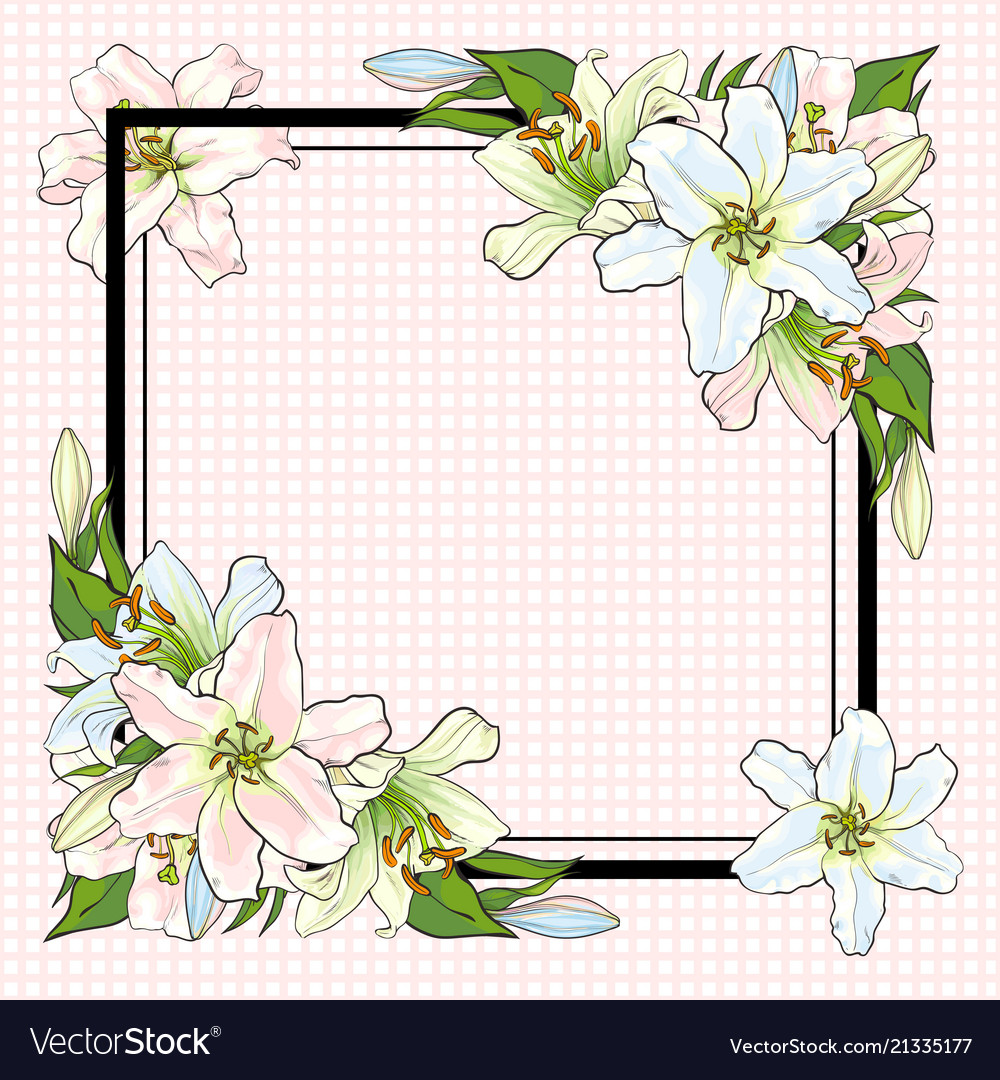 White lilies bouquet elements in sketch style at