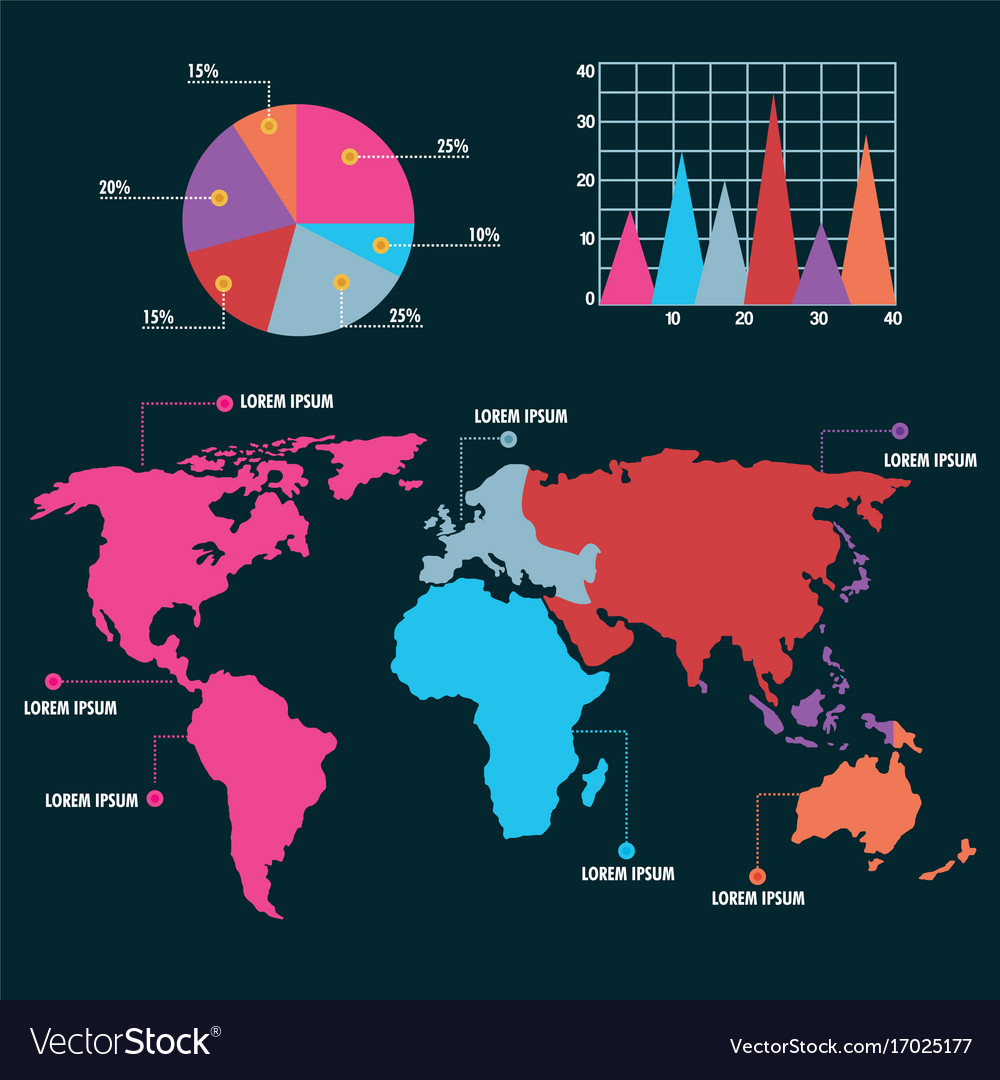 World Map Infographic Pie Chart Graph Royalty Free Vector
