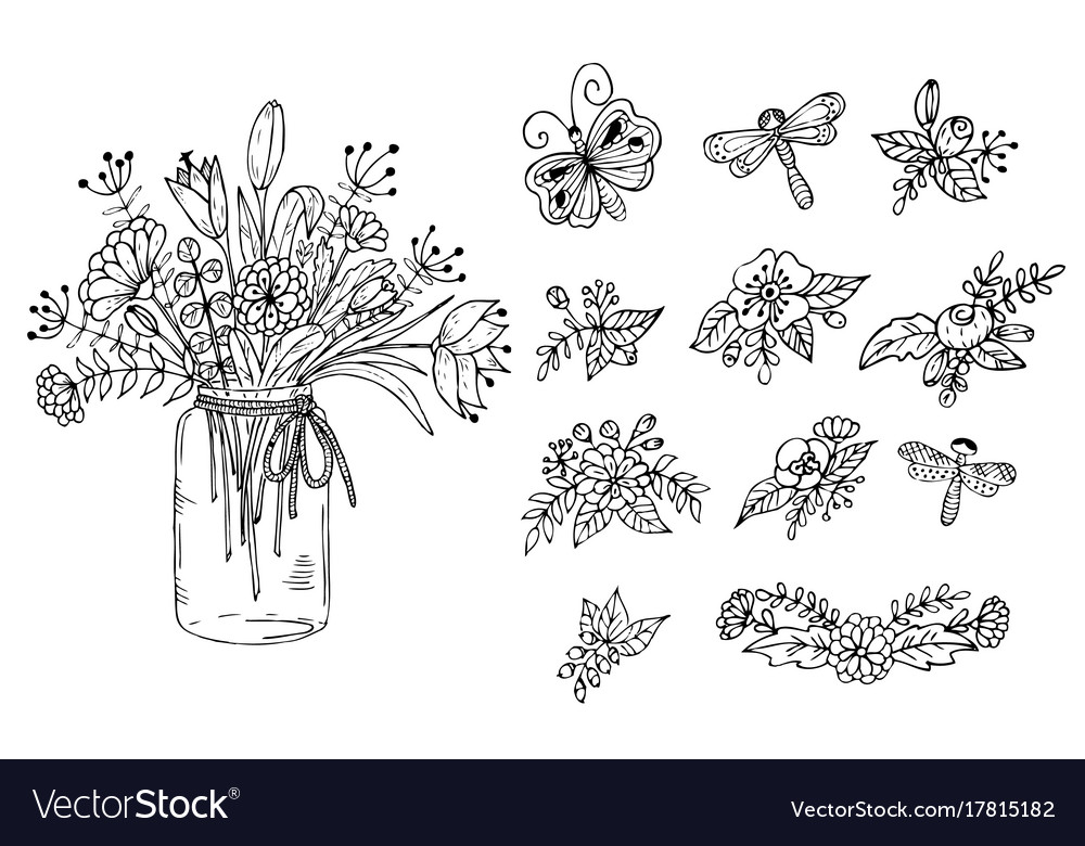 Bouquet of flowers in the vase floral elements on