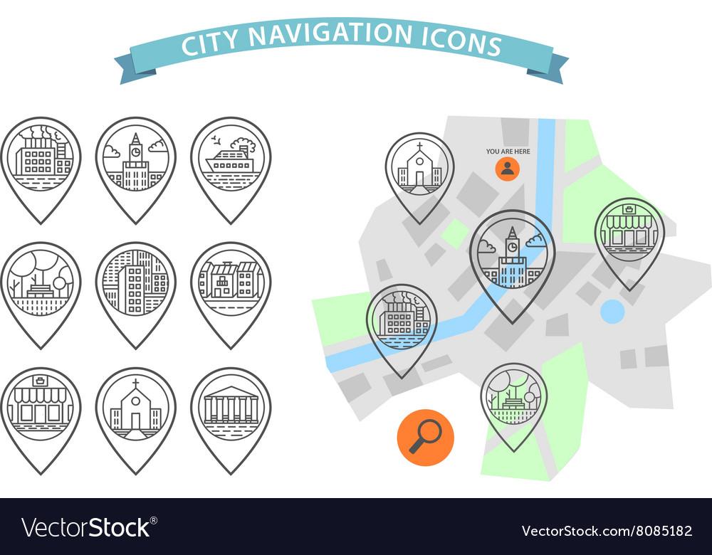 City navigation icons set