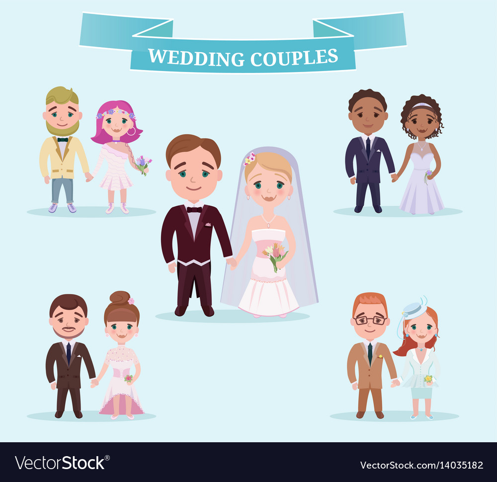 Flat wedding couples romantic set