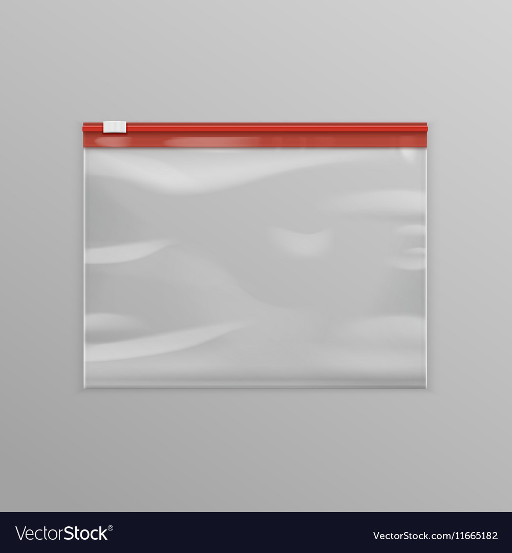Red Sealed Transparent Plastic Zipper Bag vector image